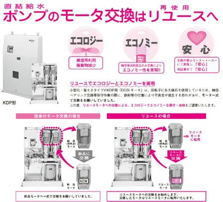 増圧給水ポンプのモータ交換は再使用へ