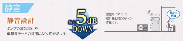 静音設計 最大5dBダウン